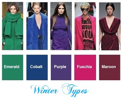 Color trends fall / winter 2012-2013 for Winter types